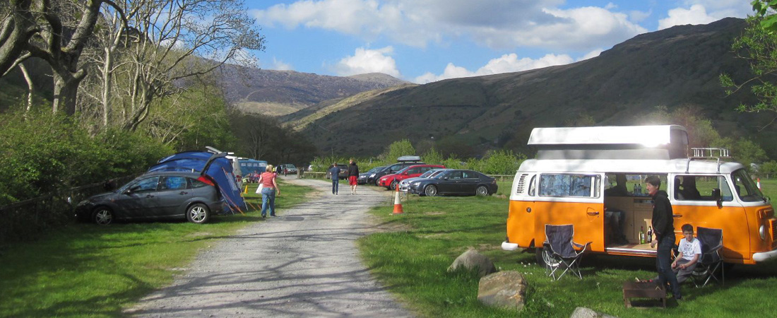 Snowdonia camping campervan and tents Ddol Fach with Glyders in distance_home