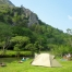 Afon Glaslyn riverside camping Snowdonia with Wenalt in distance_campsite bookings