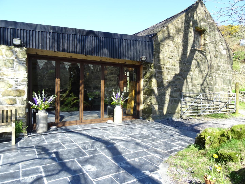 Paving Outside The Bifold Doors In Big Barn Llyn Gwynant